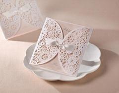 Elegant Pearl Laser Cut Wedding Invitations