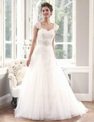 2014 Fashion Detachable A-line Lace Wedding Dress With Crystal