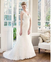 2014 Key Hole  Back Beautiful Lace Mermaid Bridal Wedding Gown