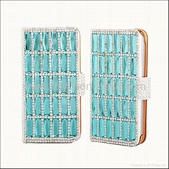 Luxury Wallet Crystal Cute Diamond Leather Case Cover for Apple Iphone 4/4S/5
