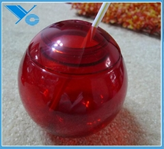 plastic round red juice and wine bottlt