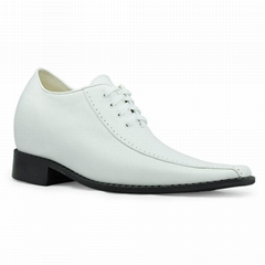 White leather dress shoes for men