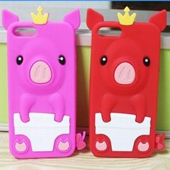 皇冠猪硅胶手机套