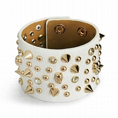 Fashion Genuine Leather Revit Alloy Bracelet