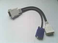 DVI to VGA+DVI 一拖二转接线