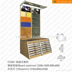 Drawer style display rack for ceramic tile