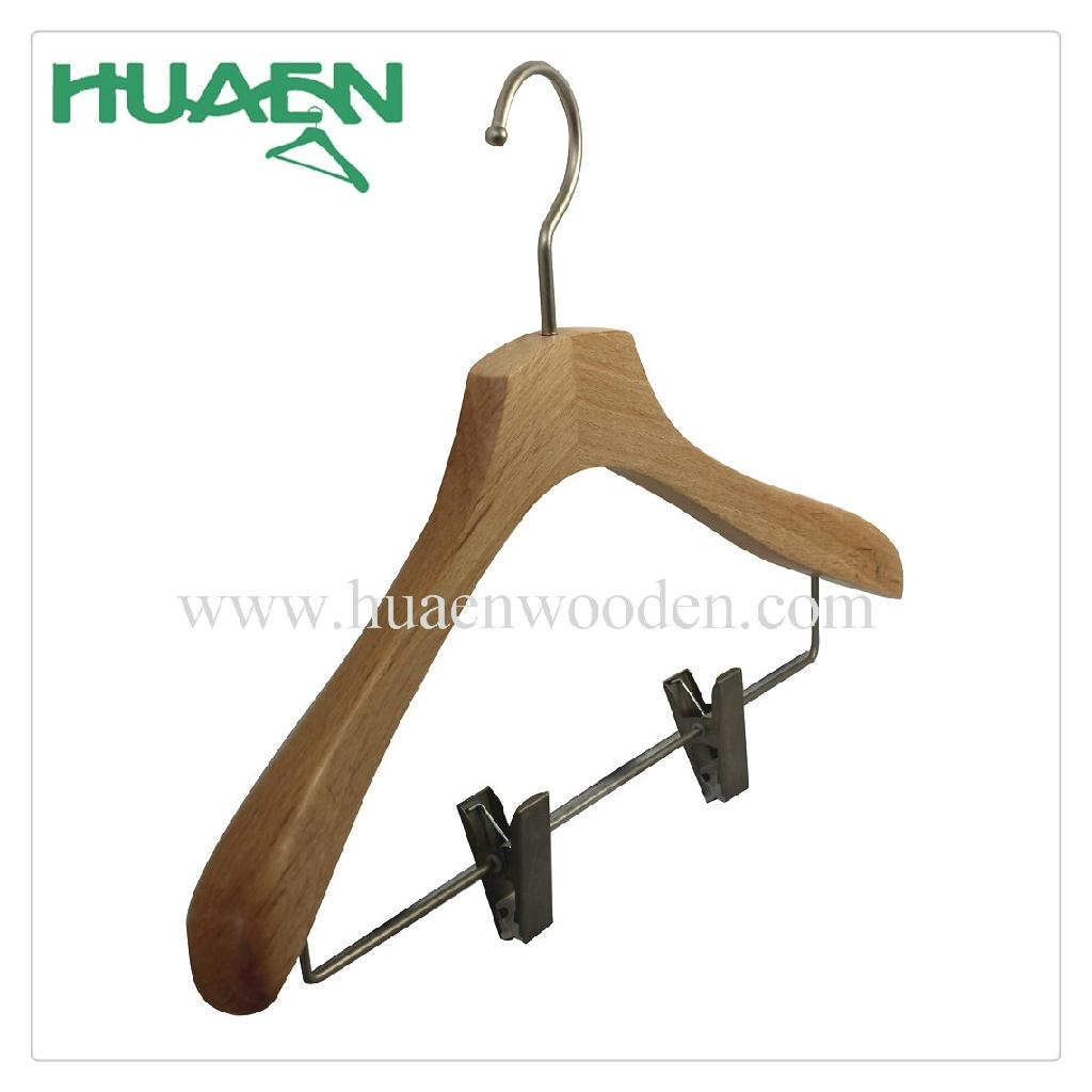 Wooden hanger with nickel clips clothing hanger-12C037  2