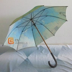 23'' x 8K Map cover straight umbrella wooden J handle
