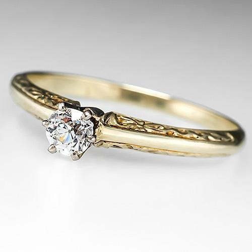 Vintage Old Mine Cut Diamond Solitaire Engagement Ring Solid 14K