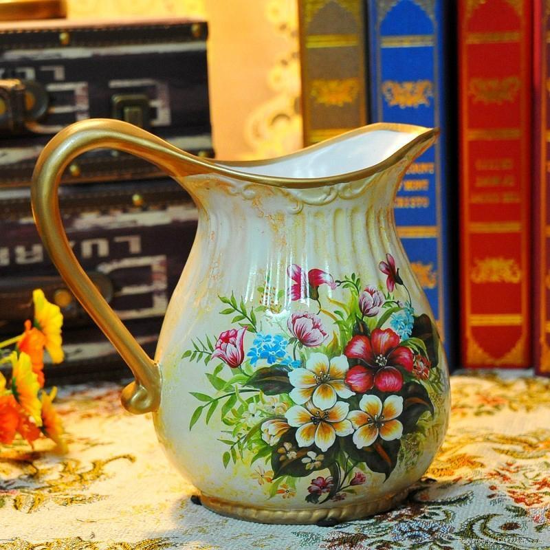 欧式高温陶瓷浅黄色花瓶摆件 1