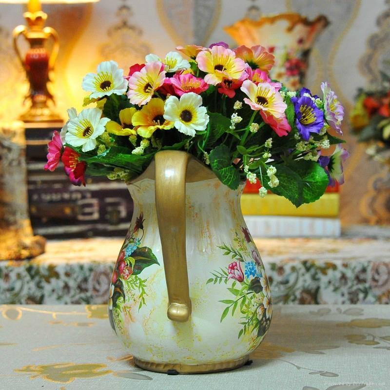欧式高温陶瓷浅黄色花瓶摆件 5
