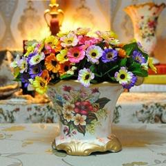 手繪彩色花卉家居裝飾高溫陶瓷擺件