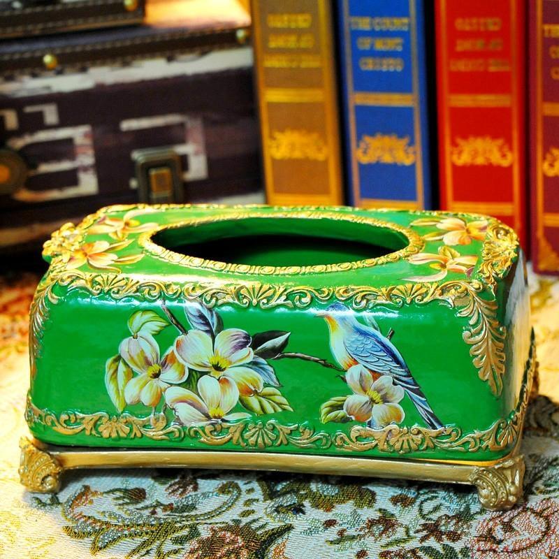 歐式宮廷古典手繪高溫陶瓷紙巾盒 1