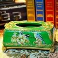 歐式宮廷古典手繪高溫陶瓷紙巾盒