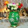 翠綠色鳥語花香古典手繪高溫陶瓷花瓶擺件 1