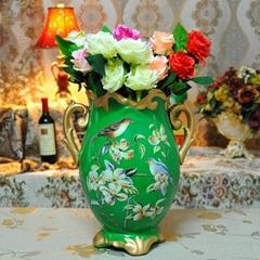 翠綠色鳥語花香古典手繪高溫陶瓷花瓶擺件