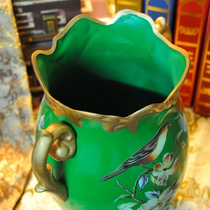翠綠色鳥語花香古典手繪高溫陶瓷花瓶擺件 3