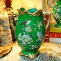 翠綠色鳥語花香古典手繪高溫陶瓷花瓶擺件 4