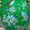翠綠色鳥語花香古典手繪高溫陶瓷花瓶擺件 5