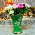 彩绘绿色陶瓷花瓶装饰品摆件