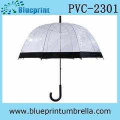 Metal Frame Transparent PVC Bell Shape Umbrella