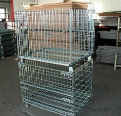 Folding Steel Wire Mesh Display Storage Stacking Cage Container