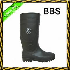 Black PVC safety rain boots