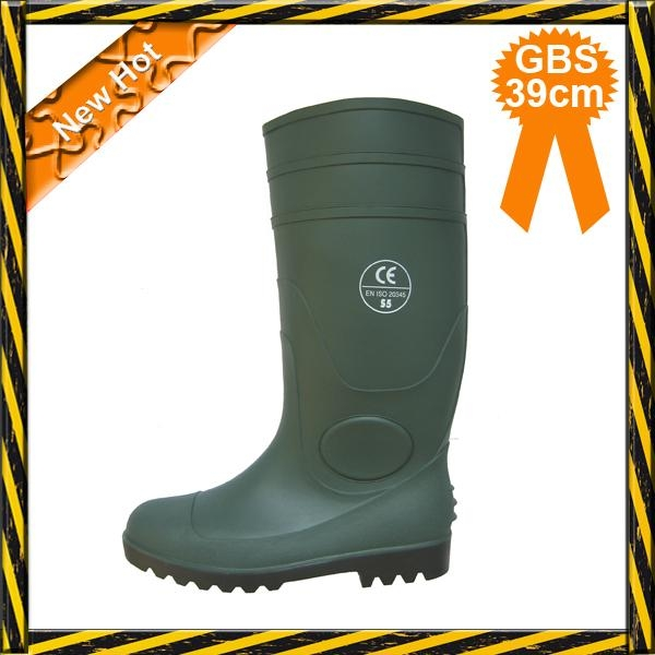 Green PVC working safety boots with steel toe 1