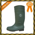 Green PVC working safety boots with