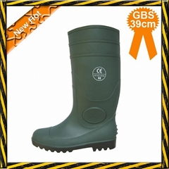 Green PVC working safety boots with steel toe