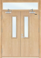 Wood heat insulation fire door