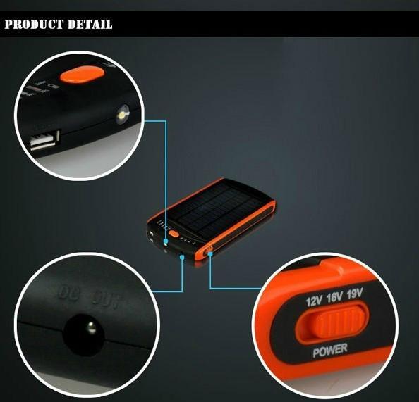 Hot 23000mAh Solar Power Bank for Laptop 12V 16V 19V 3