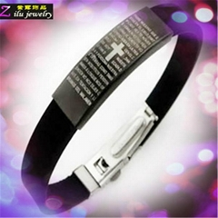 cheap custom silicone bracelets with stainless steel