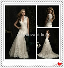 Latest Designs Elegant White V Neck Floor Length Backless Lace Wedding Gown
