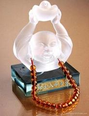 水晶立体琉璃汽车香水座-弥勒生财