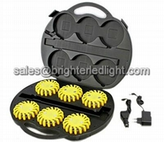 Rechargeable LED Warning Lamp Flare Kit Set Case
