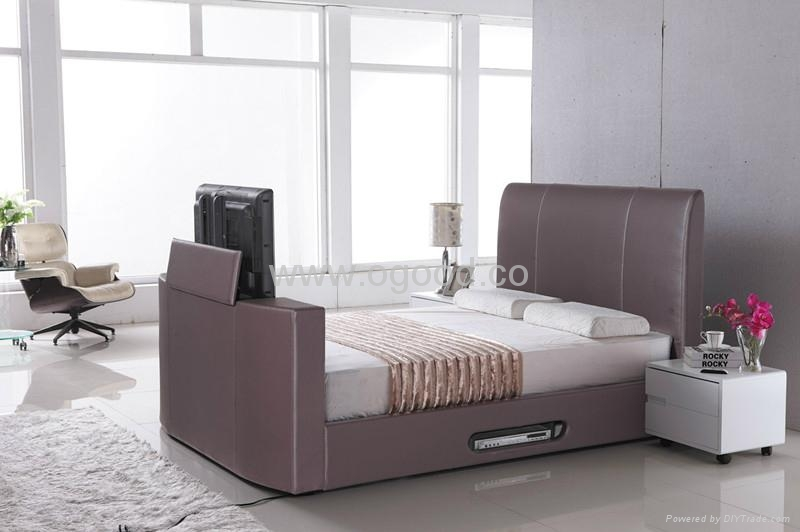 Modern Designs Leather Bed Designs TV Bed TB005-2 1