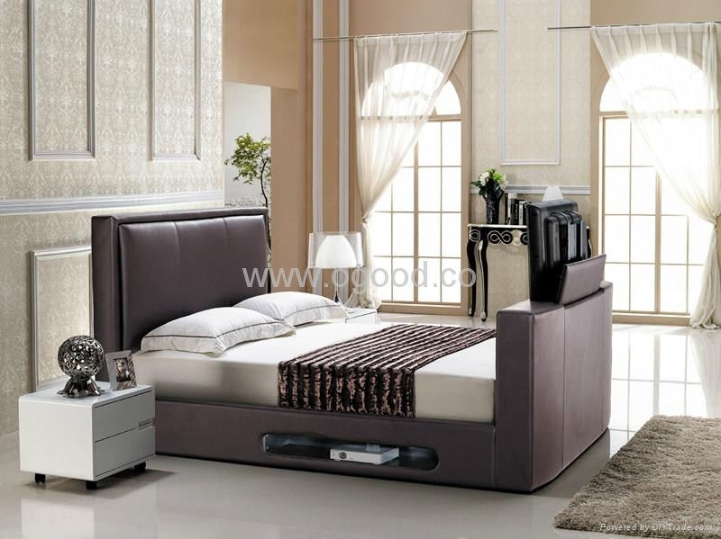 Fashion Leather Bed Designs TV Bed TB005 1