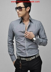 Wholesale Men's plus Size Chic Striped Edge Long Sleeve Grey Shirt