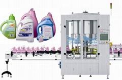Laundry detergent pour spout inserter liquid packaging machine