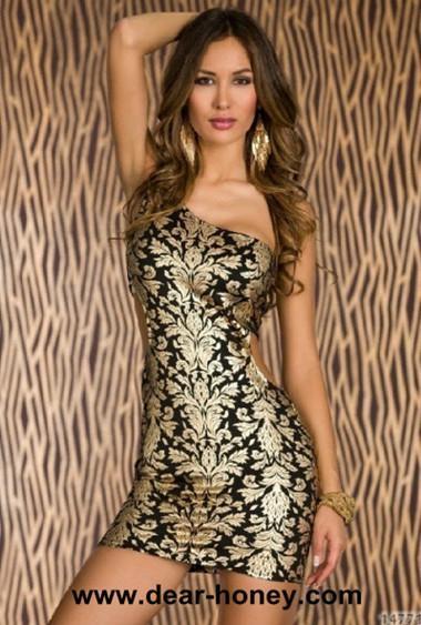 Plus Size One Shoulder Mini Club Wear Party Dress Mk 9012b