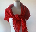 Hand Crochet Elegant Shawl Cotton Flower Knit Scarf