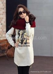 Korean style midi pattern thicken long sleeve shirt