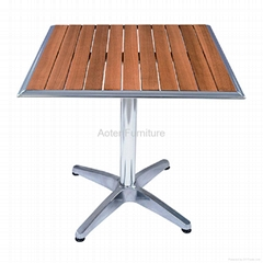 Garden aluminum frame solid wood dining table