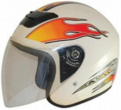 White motorcycle half face helmets