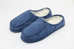 Mens Microsuede apron lip back stitch and through mules