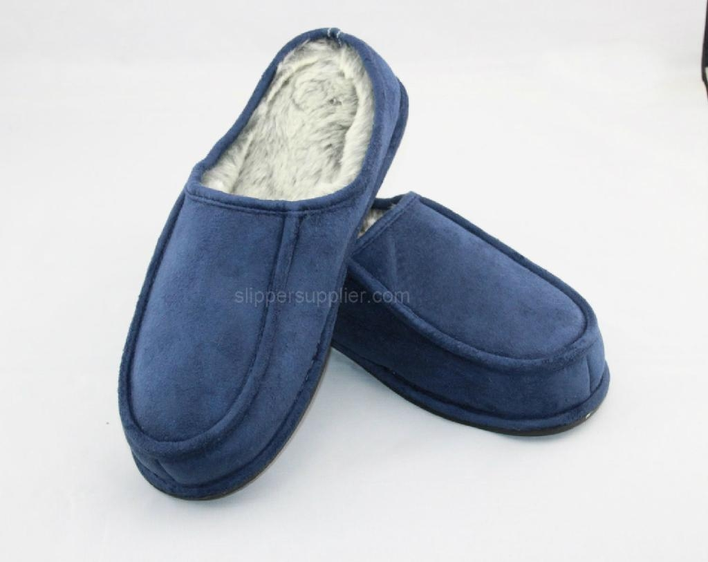 Mens Microsuede apron lip back stitch and through mules 2