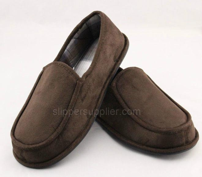 Men microsuede check closed back slippers 2