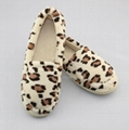 Ladies leopard microtowelling enclosed back slippers 2