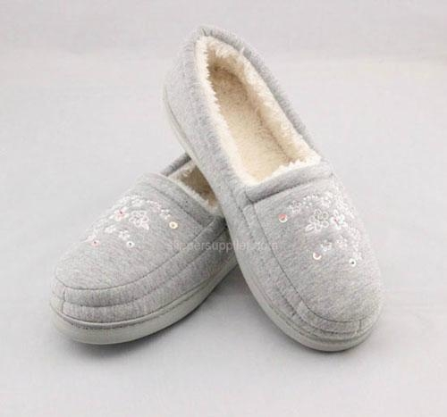 Ladies jersey teddy fur enclosed back cupsole slippers 2